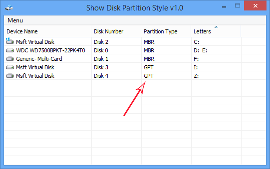 Show Disk Partition Style