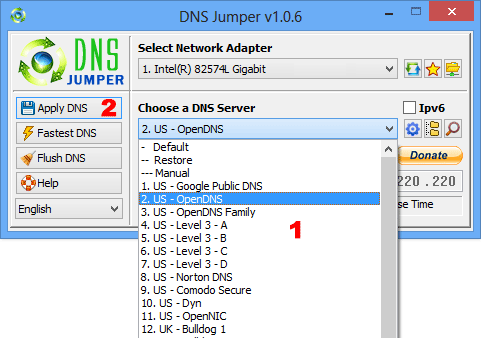 Dns Jumper choose a Dns