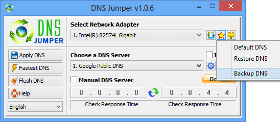 Dns Jumper backup a Dns