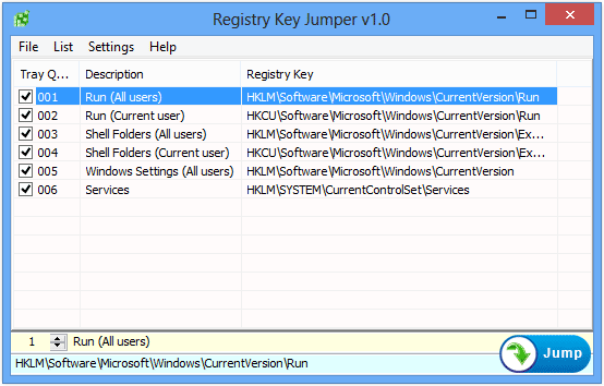 Registry Key Jumper main manu