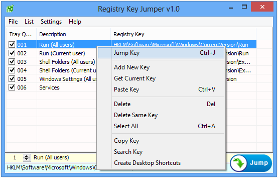 Registry Key Jumper rightclick menu