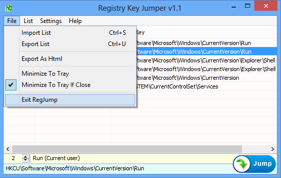 Registry key jumper file menu