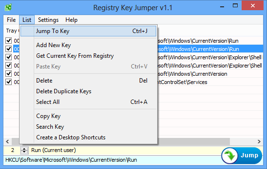 Registry key Jumper List menu