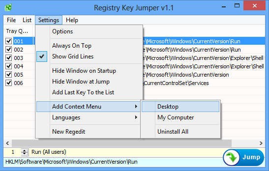 Registry key jumper Settings Menu