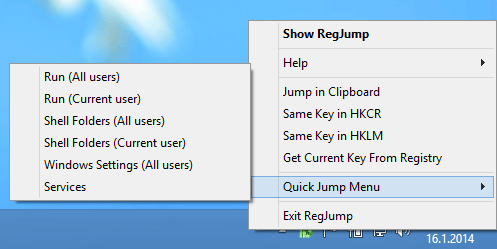 Registry Key Jumper on System Tray
