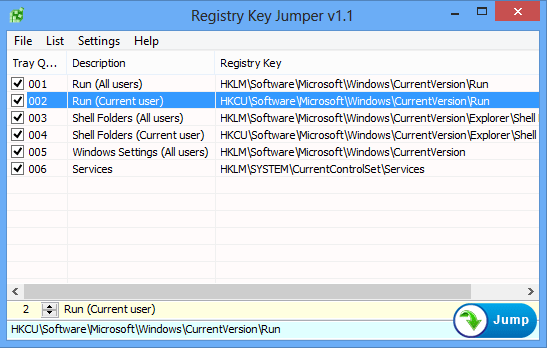 Registry Key Jumper mein menu