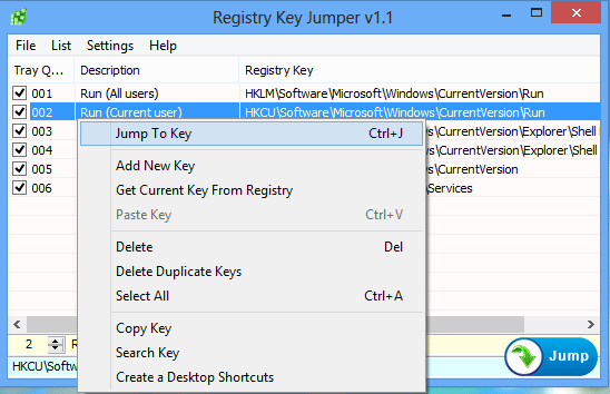 Registry Key Jumper right Click menu