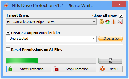 Ntfs Drive protection main menu