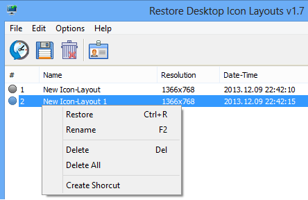 right click restore icon layout