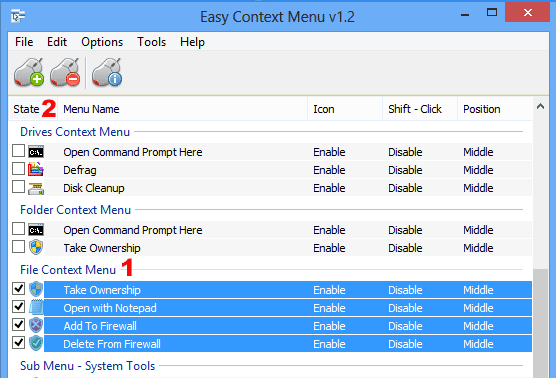 EC menu select all items under a titel