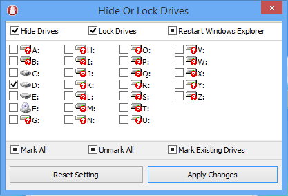 hide or lock a drive screen