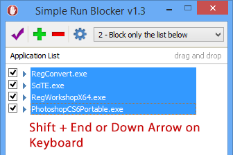 Simple run blocker select all