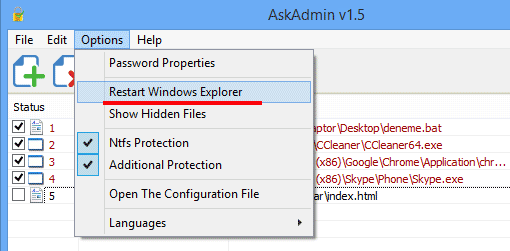 AskAdmin restart windows explorer