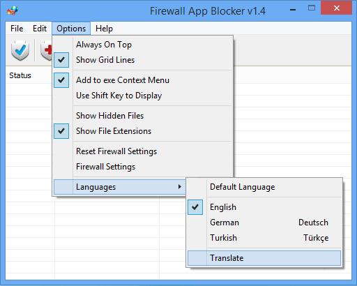 Firewall application blocker translate