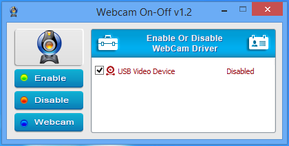 webcam on off disabled