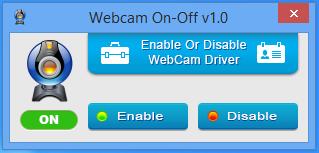 webcam status on
