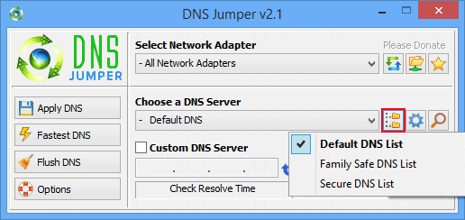 Dns Jumper select dns Group