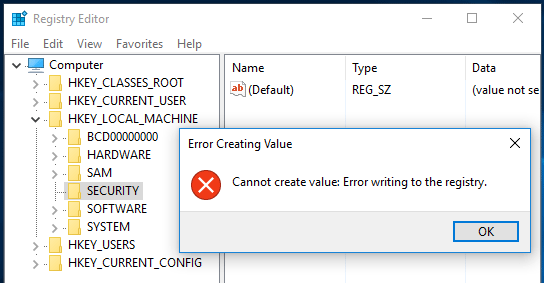 Registry writing error
