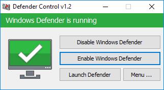Windows defensor está em execução