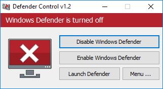 Windows defender is turned off