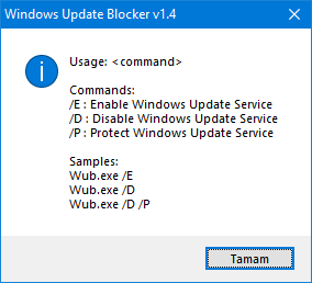 Windows update Blocker Cmd parameters