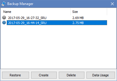 Reset Data usage Backup manager
