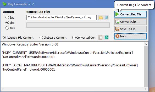 اداة صغير لتحويل ملف الريجستيري الى صيغ batch, VBS or AU3 Reg Converter v1.1
