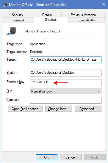 sordum monitor off keyboard shortcut