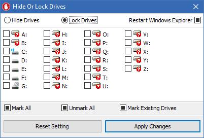 hide or lock a drive screen
