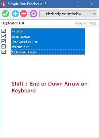 Simple run blocker select all