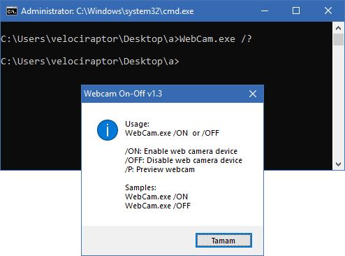 webcam on off cmd support