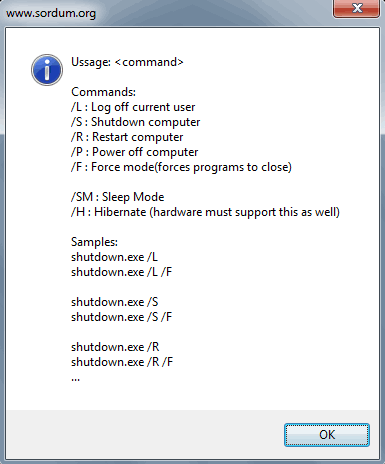Shut Down Windows cmd options