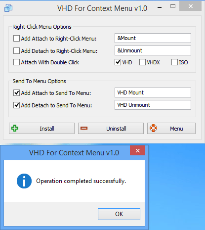 VHD For Context Menu success message