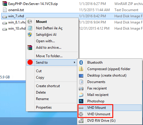 VHD For Context Menu right click menu