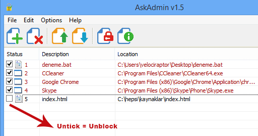 AskAdmin untick = unblock