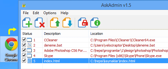 Ask admin drag and drop