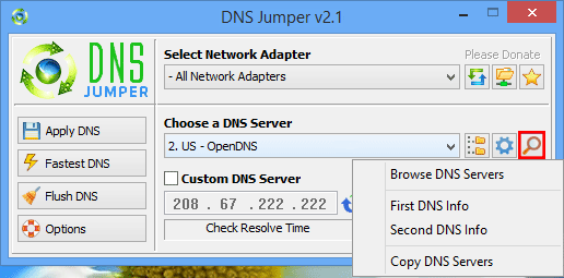 Dns Jumper browse or Copy DNS servers