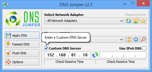 Dns Jumper add custom dns
