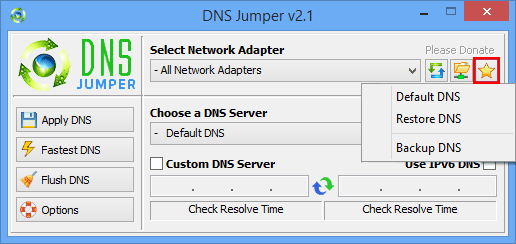 Dns Jumper backup or restore dns server settings