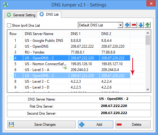 Dns Jumper changing dns list order