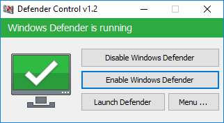 Windows defender is running