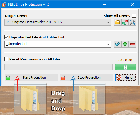 Ntfs Drive protection drag and drop function
