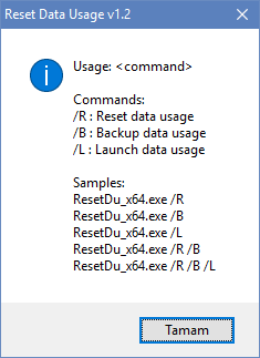 Reset data usage cmd parameters