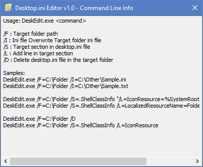 desktop.ini supported cmd parameters