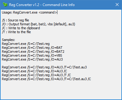 RegConverter cmd parameters
