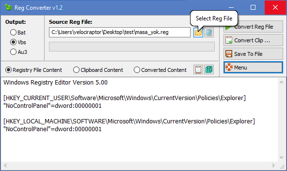 reg converter select reg file