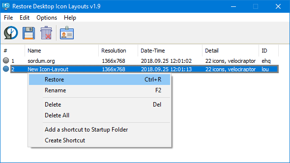 ReIcon (Restore Desktop Icon Layouts)