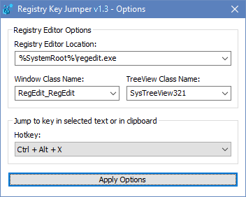 Registry key Jumper Options Menu