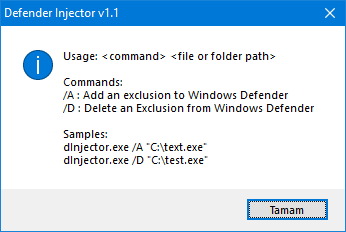 Defender injector cmd support