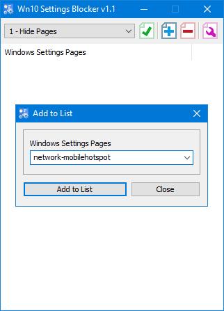 Adding Win10 settings blocker list